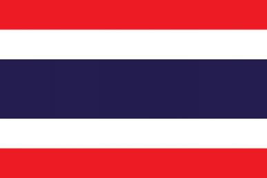 Viser det thailandske flagget i rødt, hvitt og blått