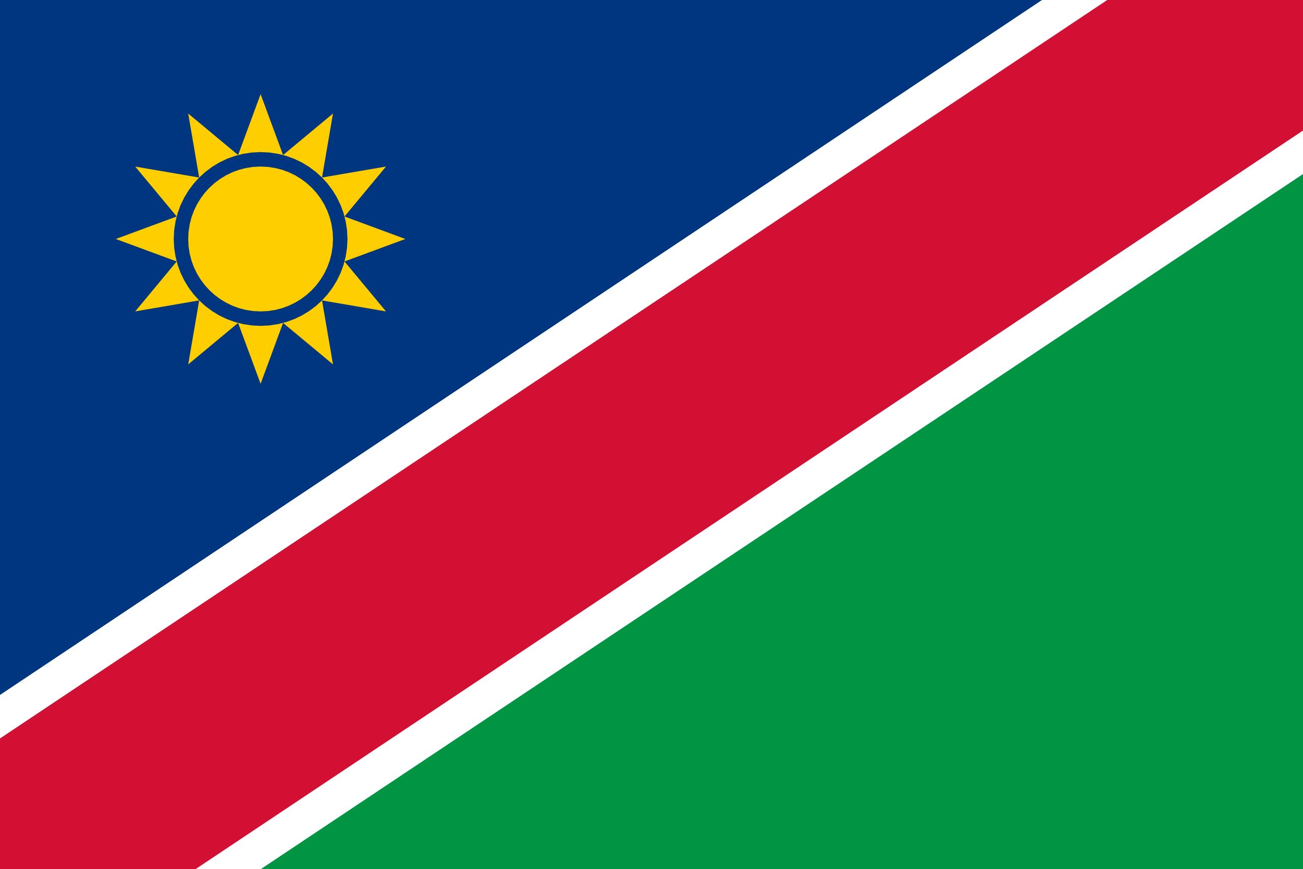 Viser flagg til Namibia